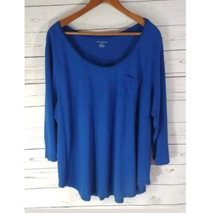 Lane Bryant Blue Casual Cotton Shirt Top Plus Size
